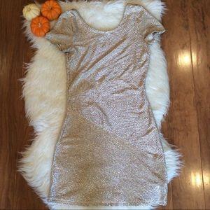 Free People Gold Sparkle Mini Dress
